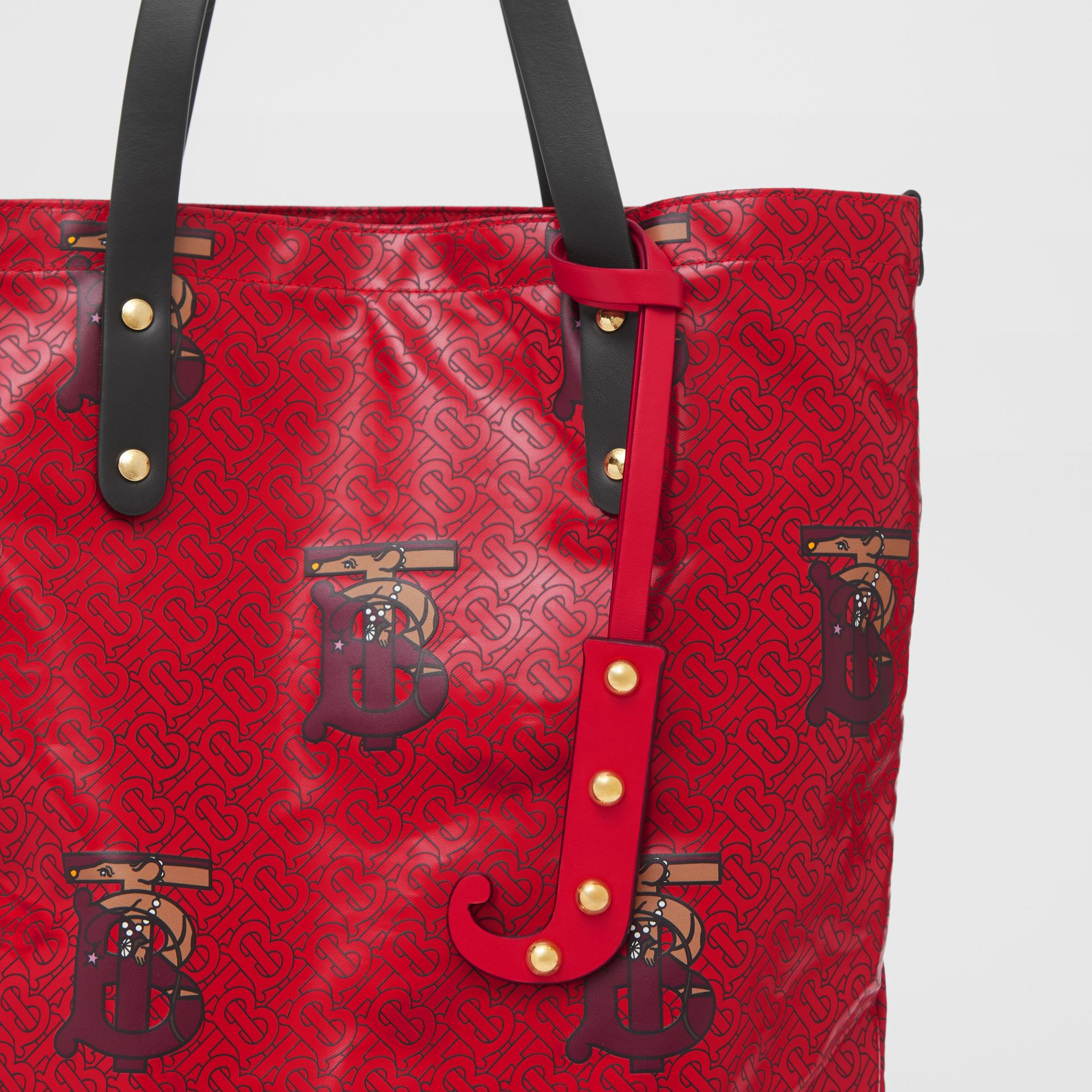 'J' Studded Leather Alphabet Charm in Red/light Gold - Women | Burberry - gallery image 3