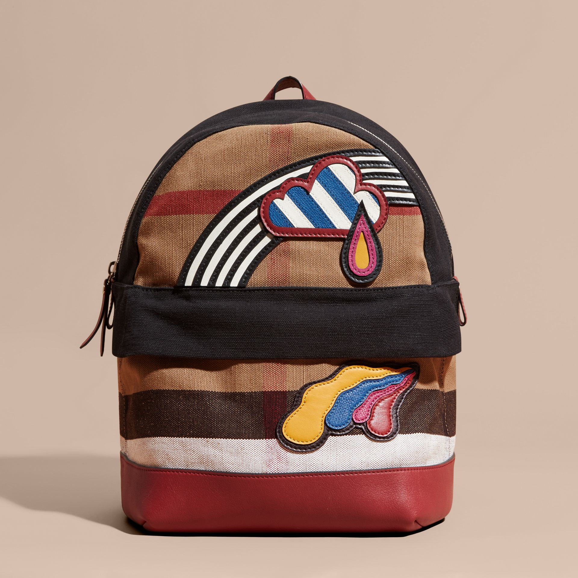 Parade red Appliquéd Weather Graphic Check and Leather Backpack - gallery image 6