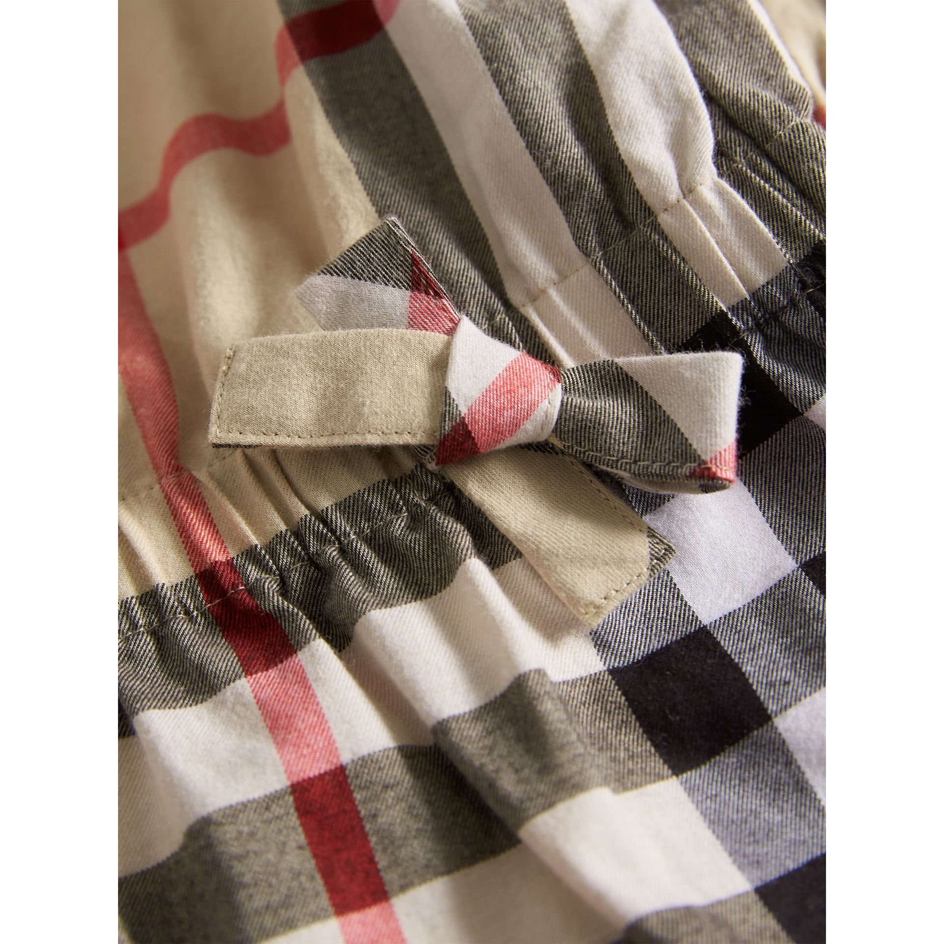 Gathered Check Cotton Flannel Dress in New Classic - Girl | Burberry - gallery image 2