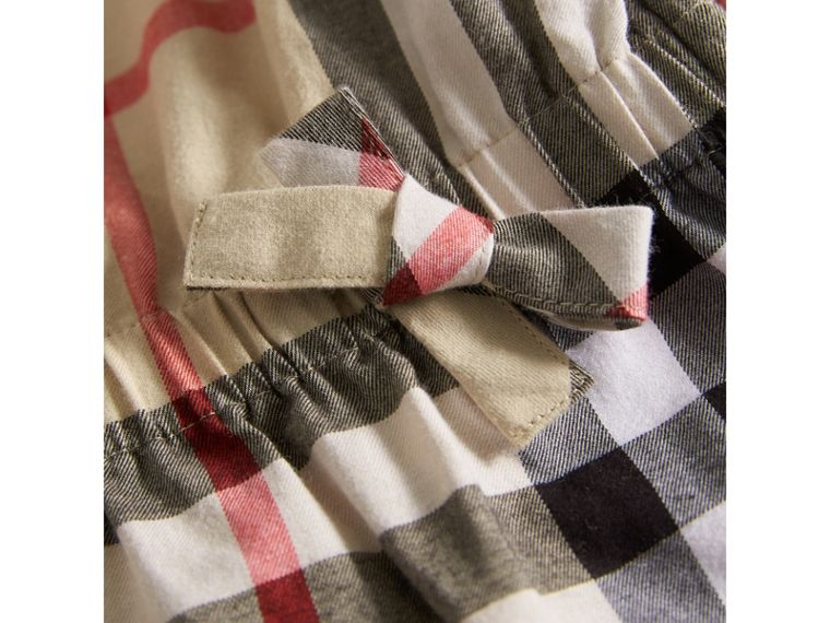 Gathered Check Cotton Flannel Dress in New Classic - Girl | Burberry - cell image 1