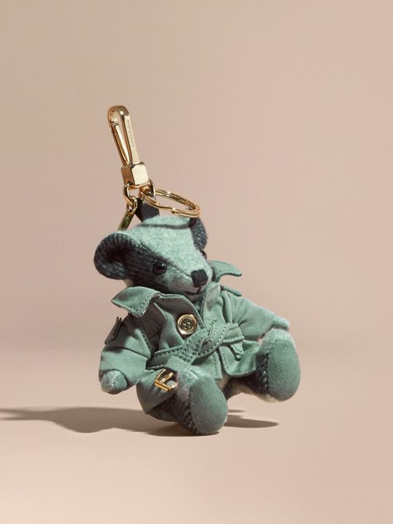 Thomas Bear Charm with Tropical Gabardine Trench Coat Dusty Mint