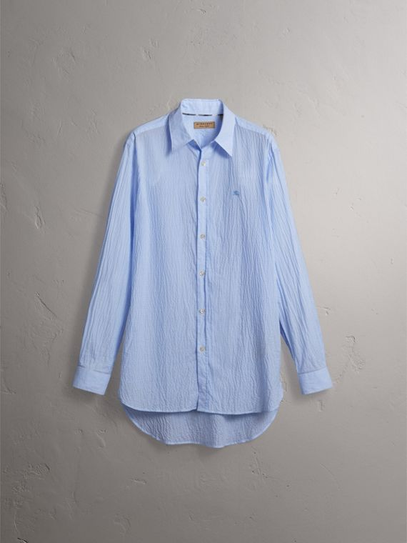 Striped Seersucker Stretch Cotton Shirt - Men | Burberry - cell image 3