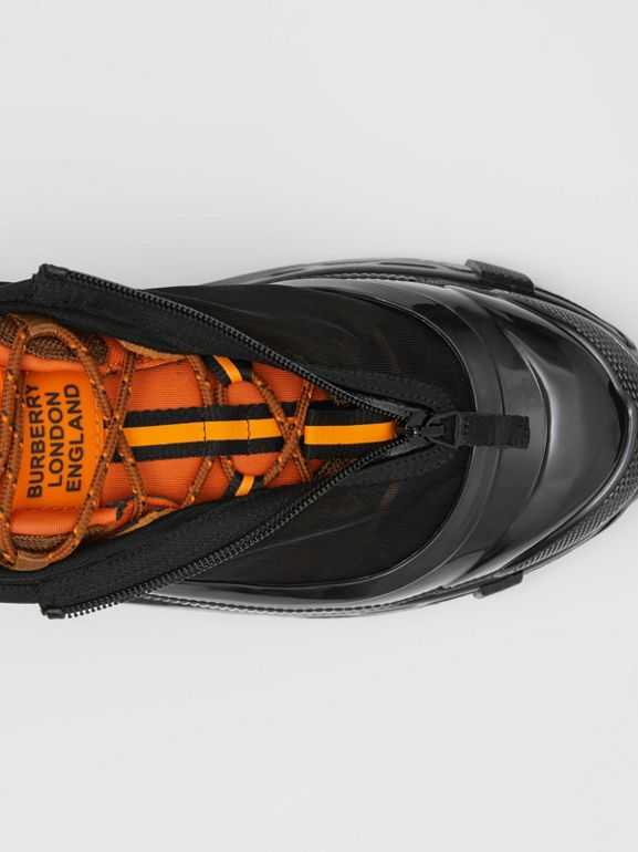 Nylon and Suede Arthur Sneakers in Black/bright Orange | Burberry Australia - cell image 1