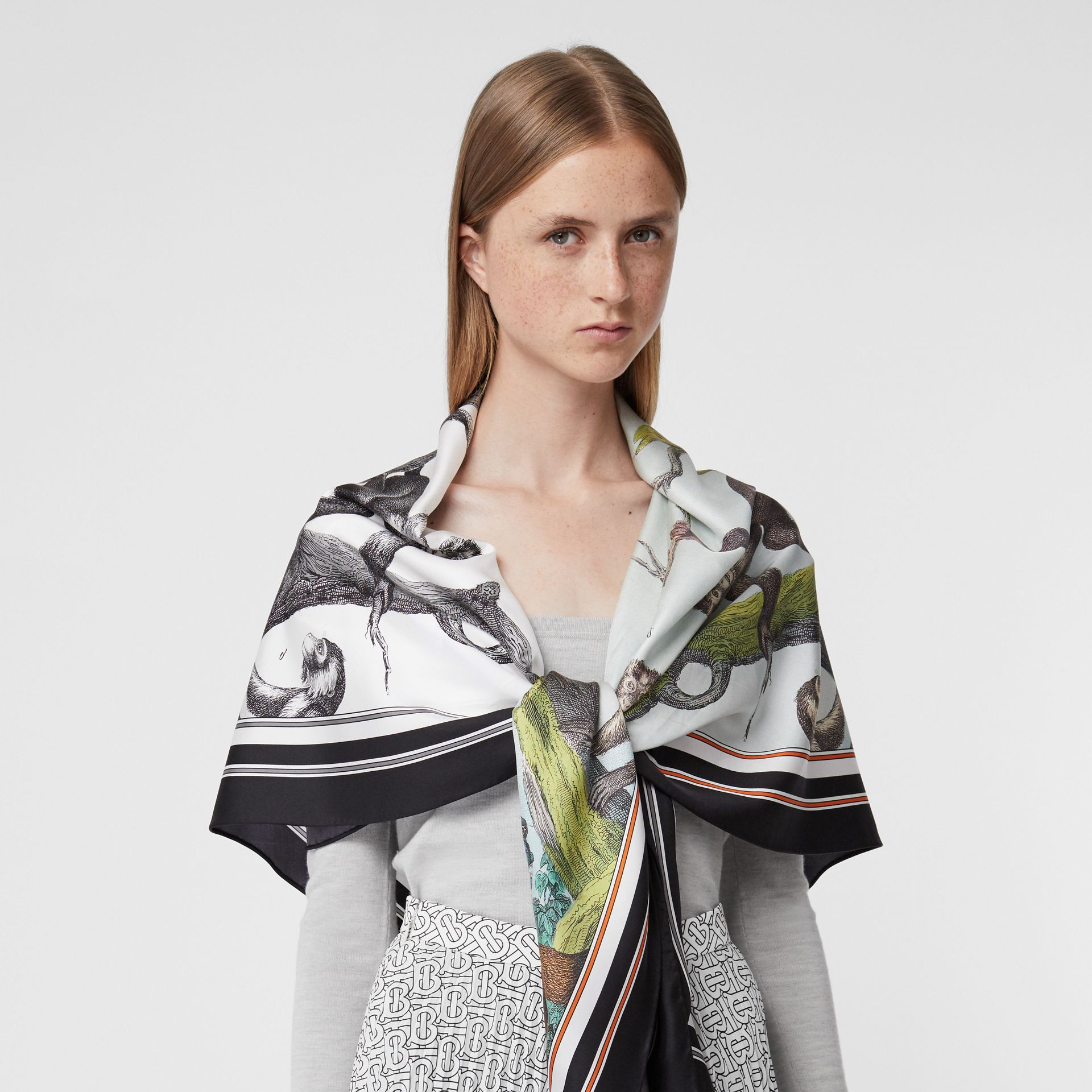 Monkey Print Silk Scarf Detail Bodysuit in Grey Melange - Women | Burberry - gallery image 1