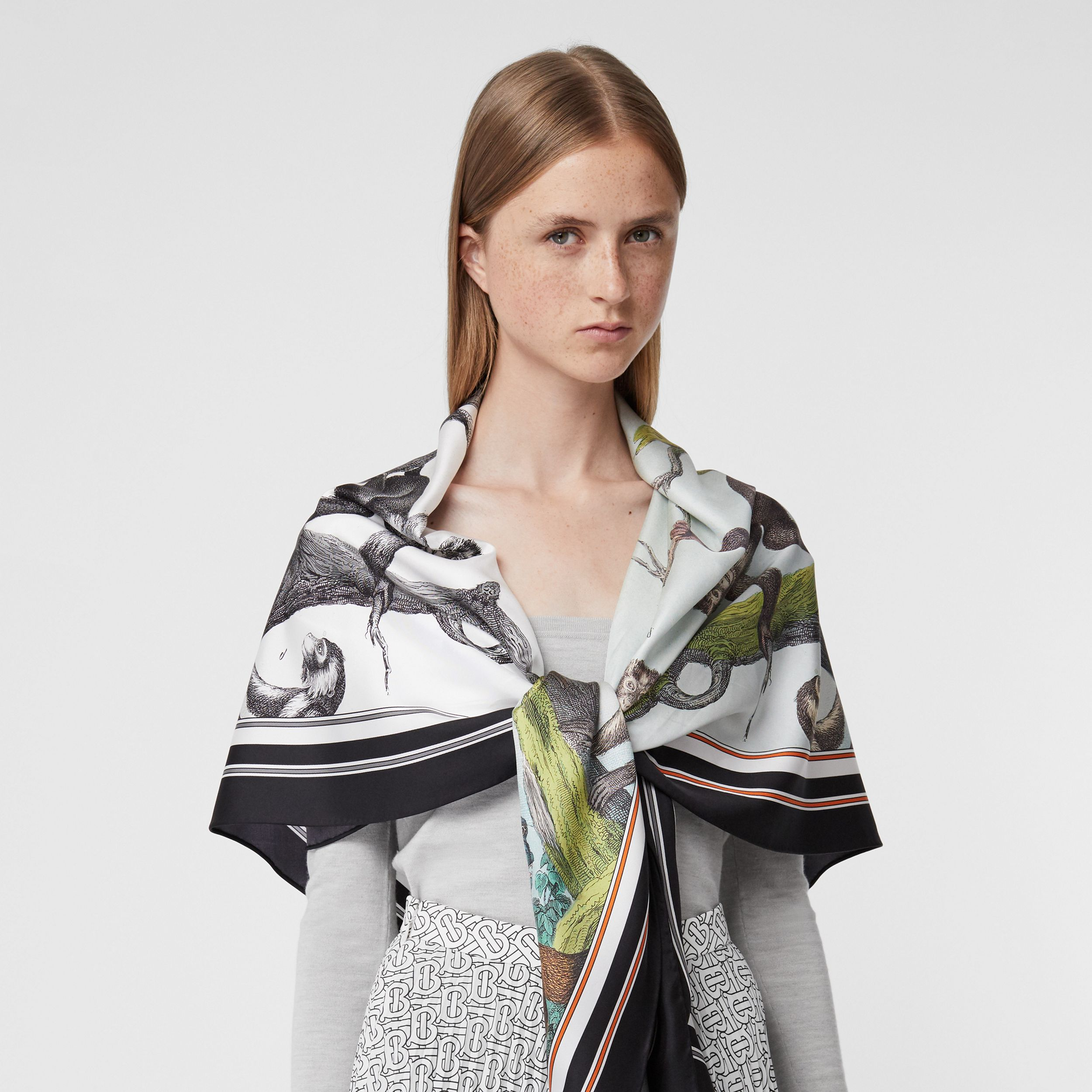Monkey Print Silk Scarf Detail Bodysuit in Grey Melange - Women | Burberry - 2