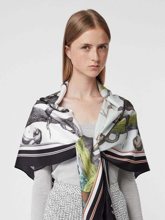 Monkey Print Silk Scarf Detail Bodysuit in Grey Melange - Women | Burberry - cell image 1