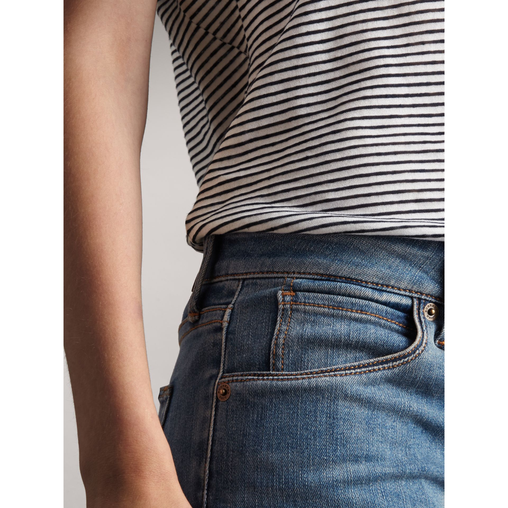 Skinny Low-Rise Vintage Wash Jeans in Mid Indigo - Women | Burberry Canada - gallery image 1