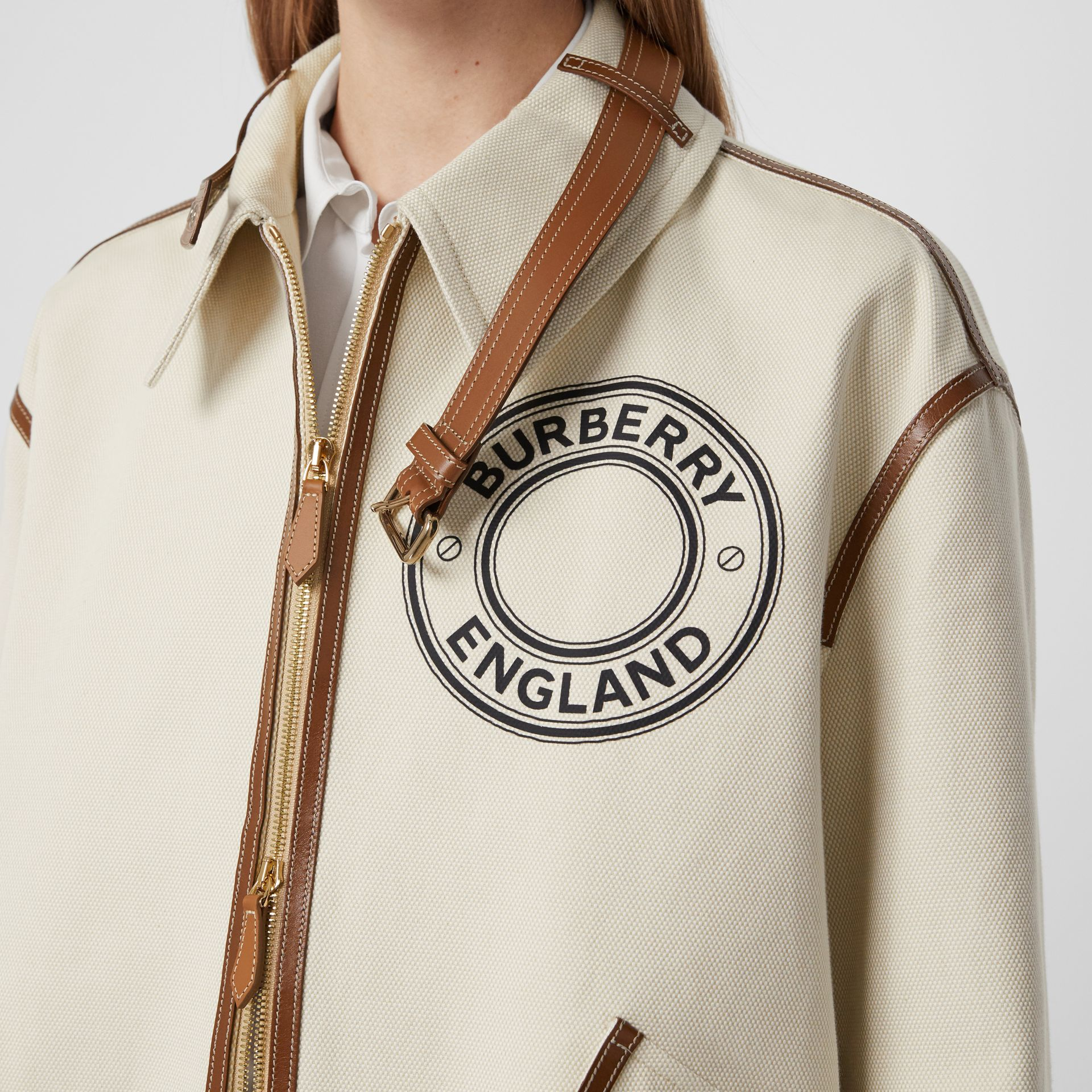 Logo Graphic Cotton Canvas and Lambskin Blouson in Vanilla - Women | Burberry Australia - gallery image 1