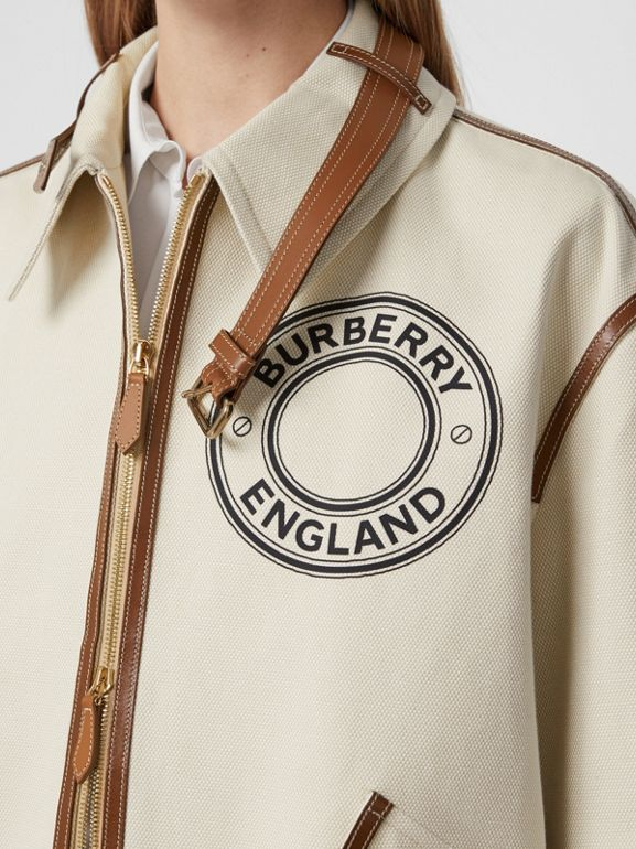 Logo Graphic Cotton Canvas and Lambskin Blouson in Vanilla - Women | Burberry Australia - cell image 1