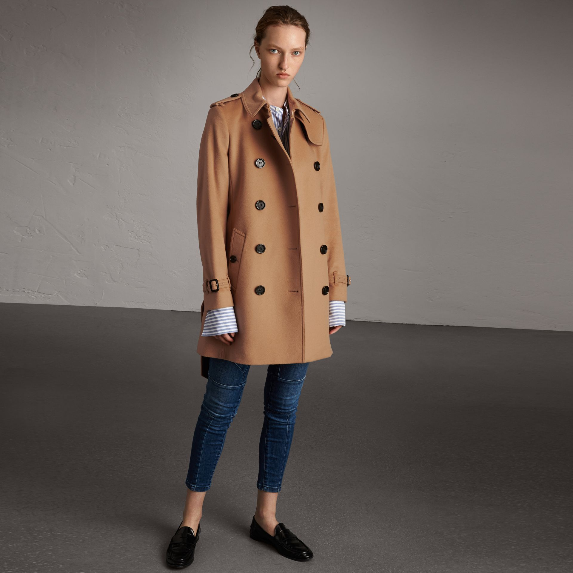 Wool Cashmere Trench Coat in Camel - Women | Burberry - gallery image 0