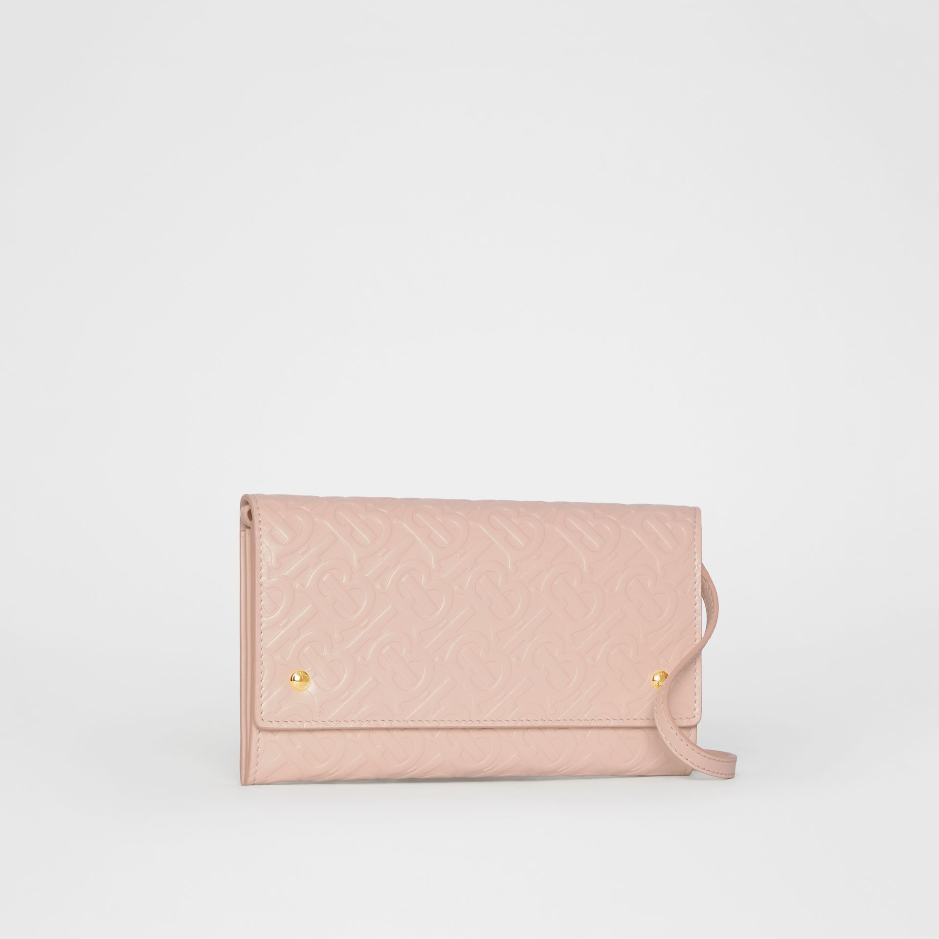Portefeuille en cuir Monogram et sangle amovible (Beige Rose) - Femme | Burberry - photo de la galerie 7