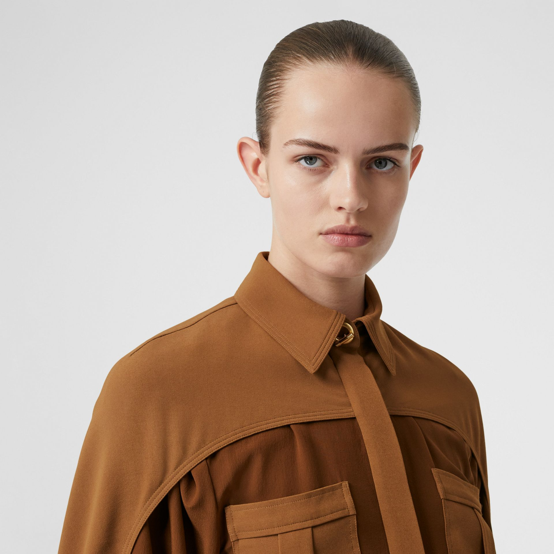 Cape Sleeve Two-tone Silk Shirt in Mahogany - Women | Burberry Canada - gallery image 6