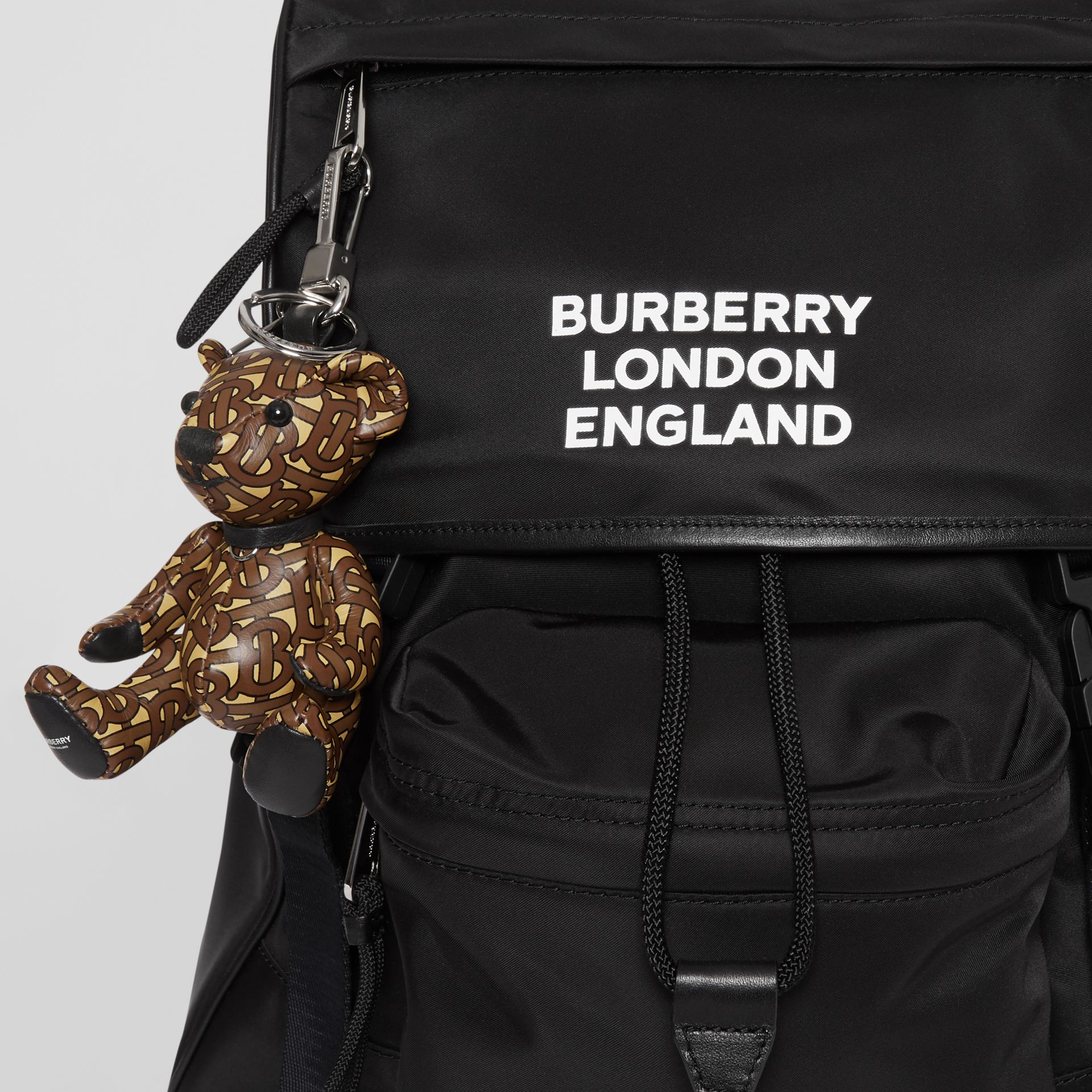 Thomas Bear Charm in Monogram Print Leather in Bridle Brown | Burberry Australia - gallery image 4