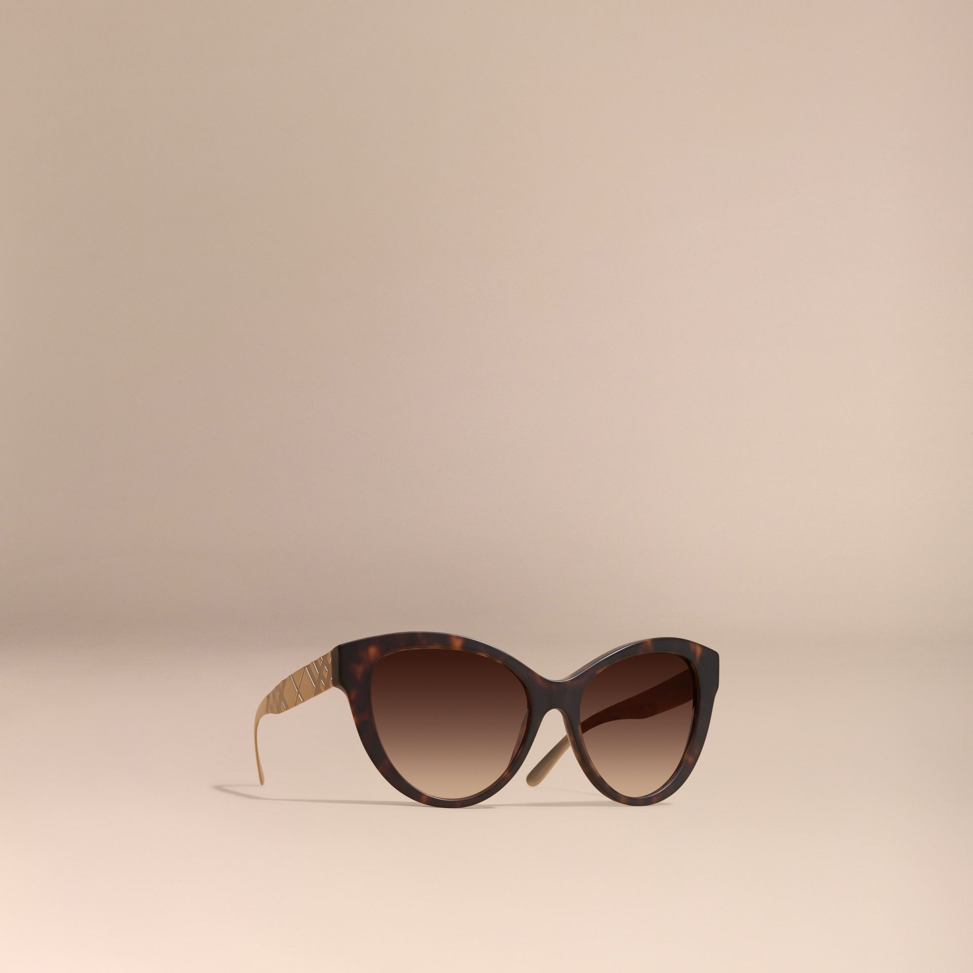 Brown 3D Check Cat-eye Sunglasses Brown - gallery image 1