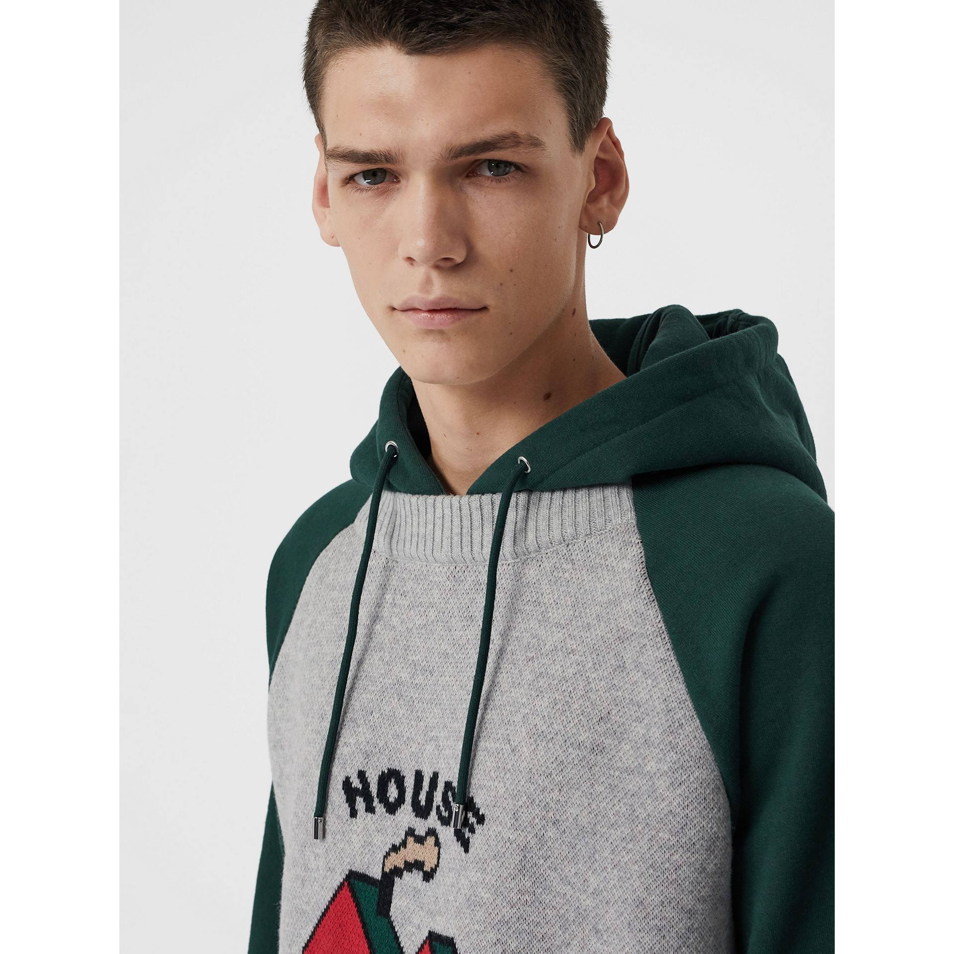 House Music Intarsia Jersey Hoodie in Forest Green - Men | Burberry Singapore - gallery image 1