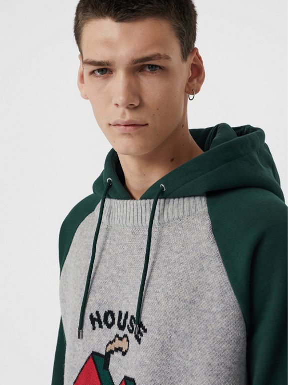 House Music Intarsia Jersey Hoodie in Forest Green - Men | Burberry Singapore - cell image 1