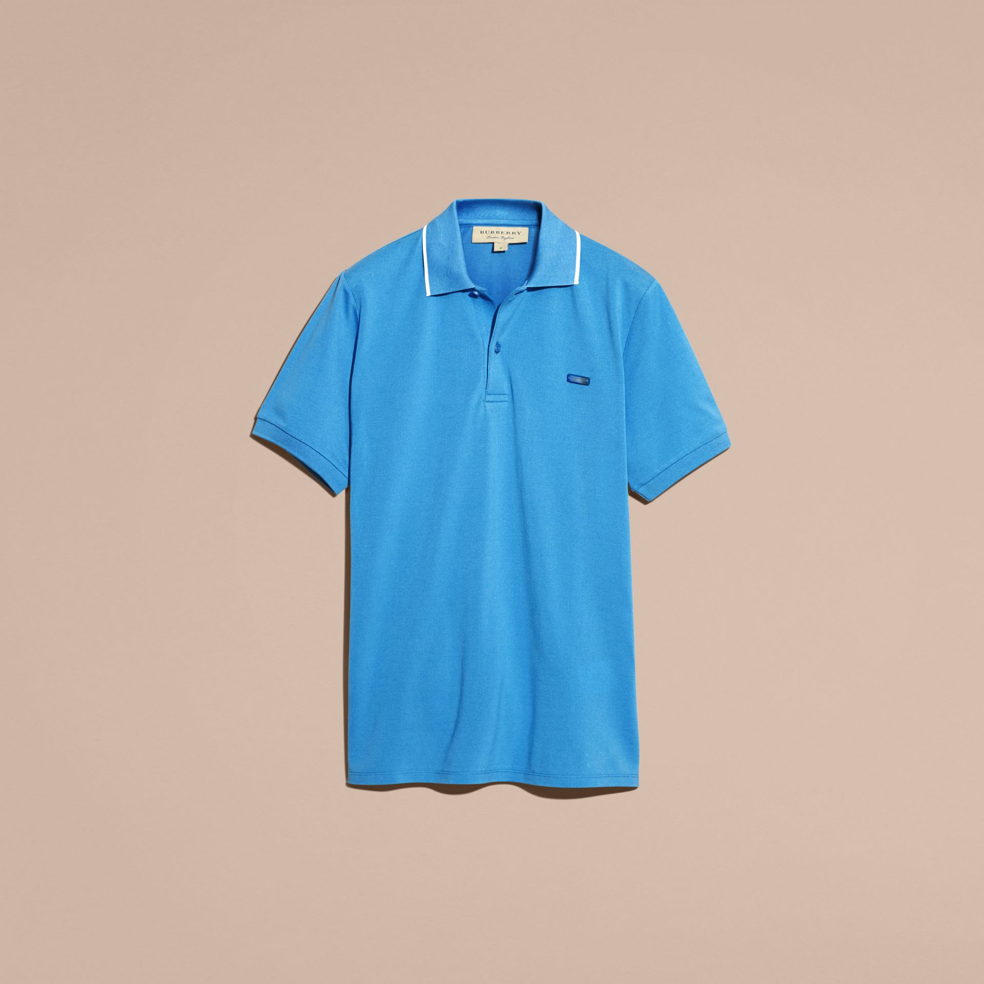 Tipped Collar Cotton Piqué Polo Shirt Chalk Blue - gallery image 4