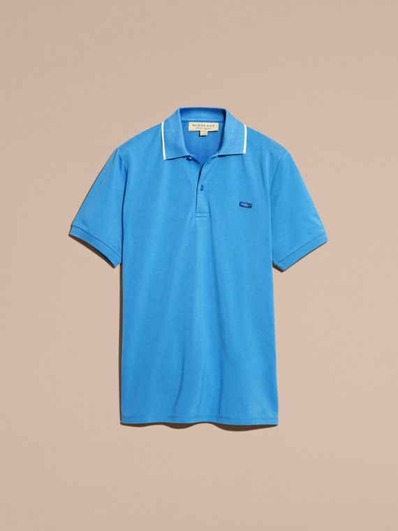 Tipped Collar Cotton Piqué Polo Shirt Chalk Blue - cell image 3