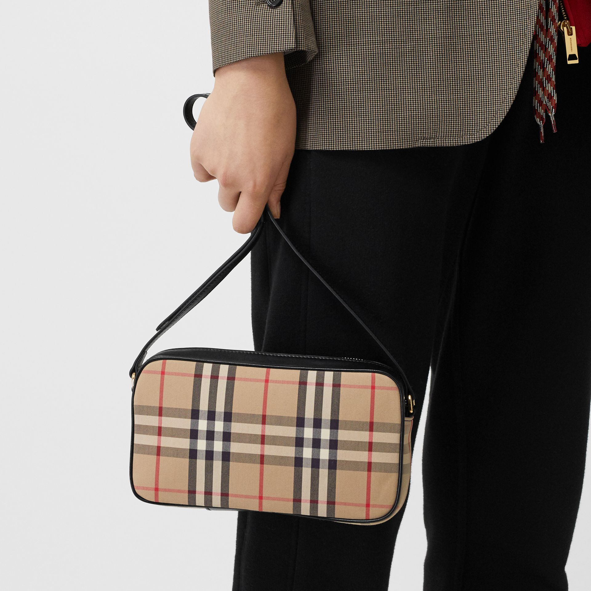 Small Vintage Check and Leather Camera Bag in Archive Beige - Women | Burberry - gallery image 8