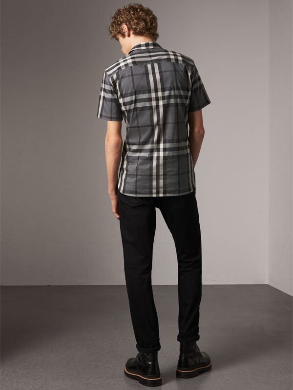 Short-sleeved Check Stretch Cotton Shirt in Charcoal - Men | Burberry - cell image 2