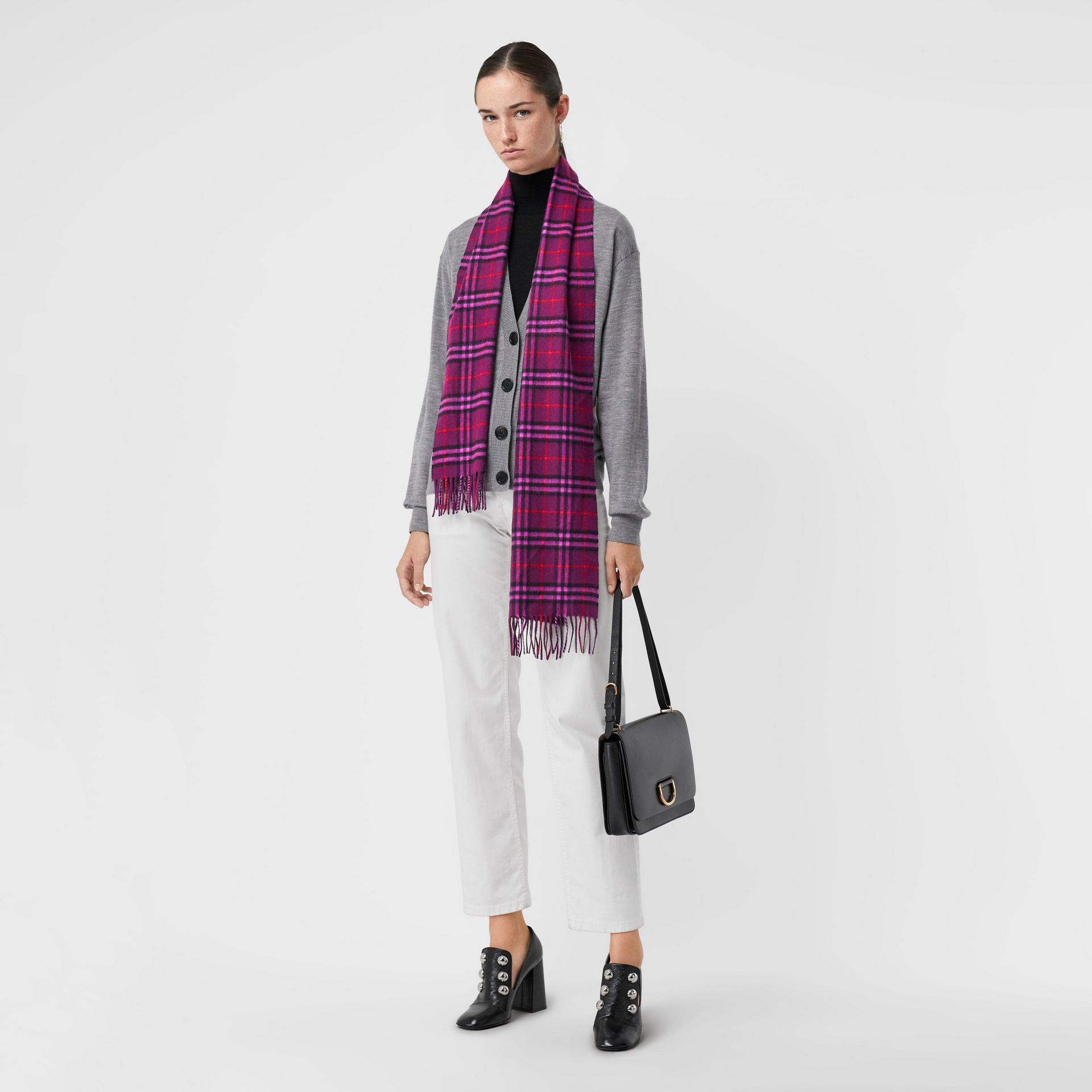 The Classic Vintage Check Cashmere Scarf in Dark Violet | Burberry United Kingdom - gallery image 2