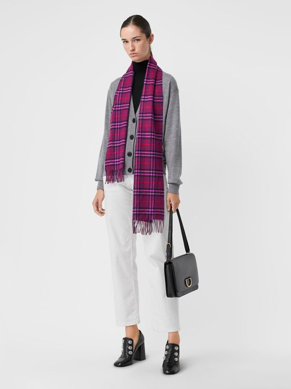 The Classic Vintage Check Cashmere Scarf in Dark Violet | Burberry - cell image 2