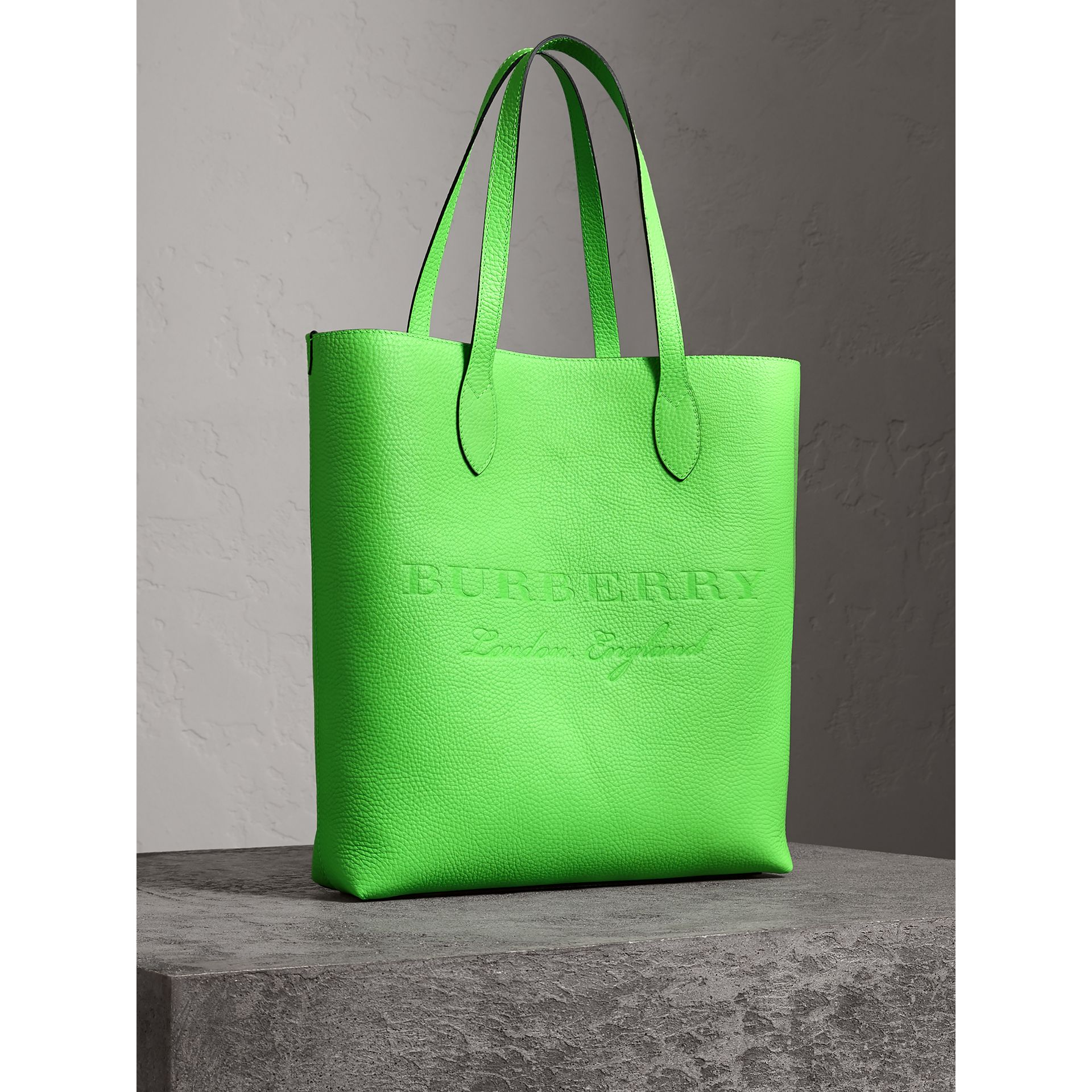 Embossed Leather Tote in Neon Green | Burberry Australia - gallery image 7