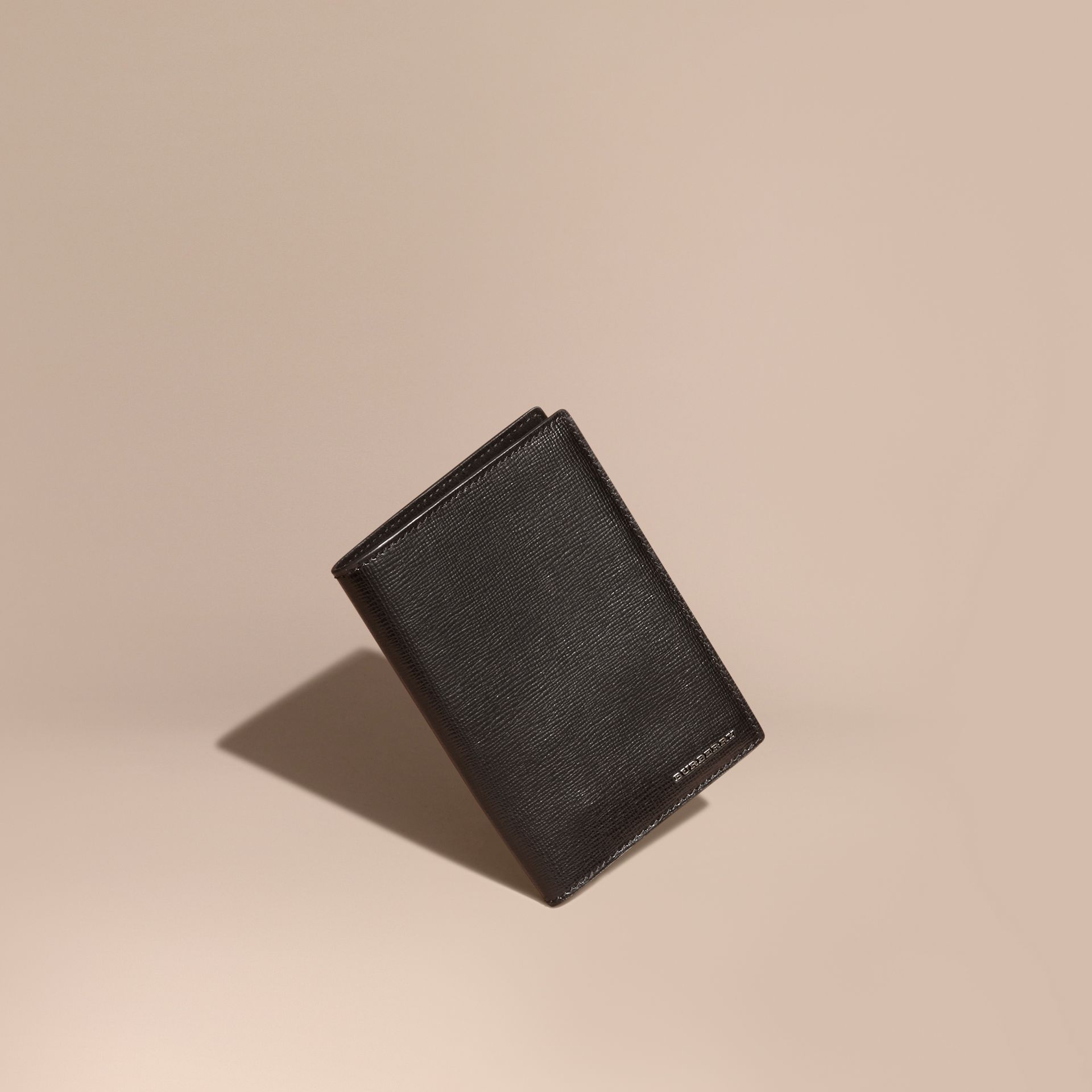 Black London Leather Passport and Card Holder Black - gallery image 1