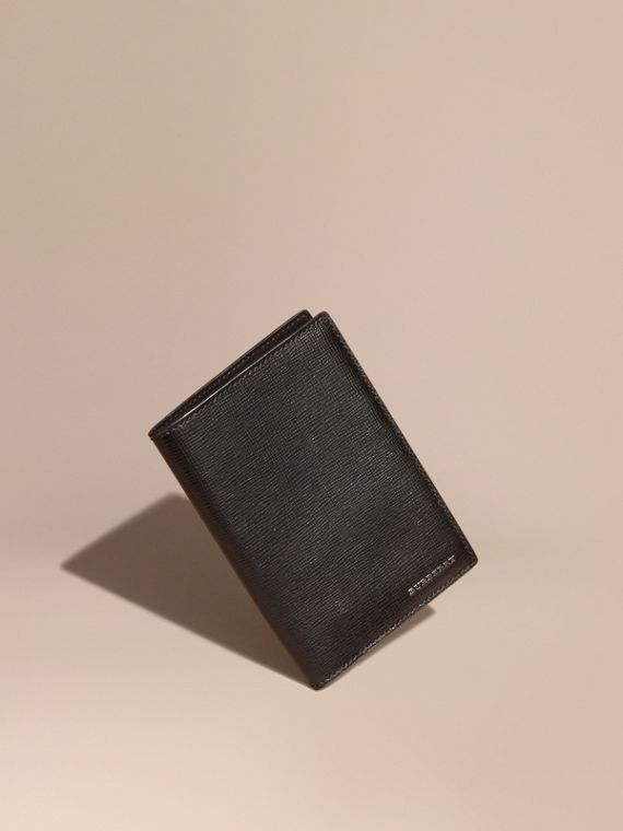London Leather Passport and Card Holder Black