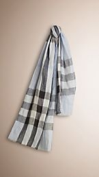 Check Crinkled Linen Scarf