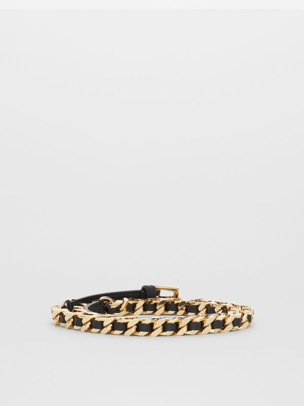 D-ring Detail Leather and Chain Belt in Black - Women | Burberry - cell image 3