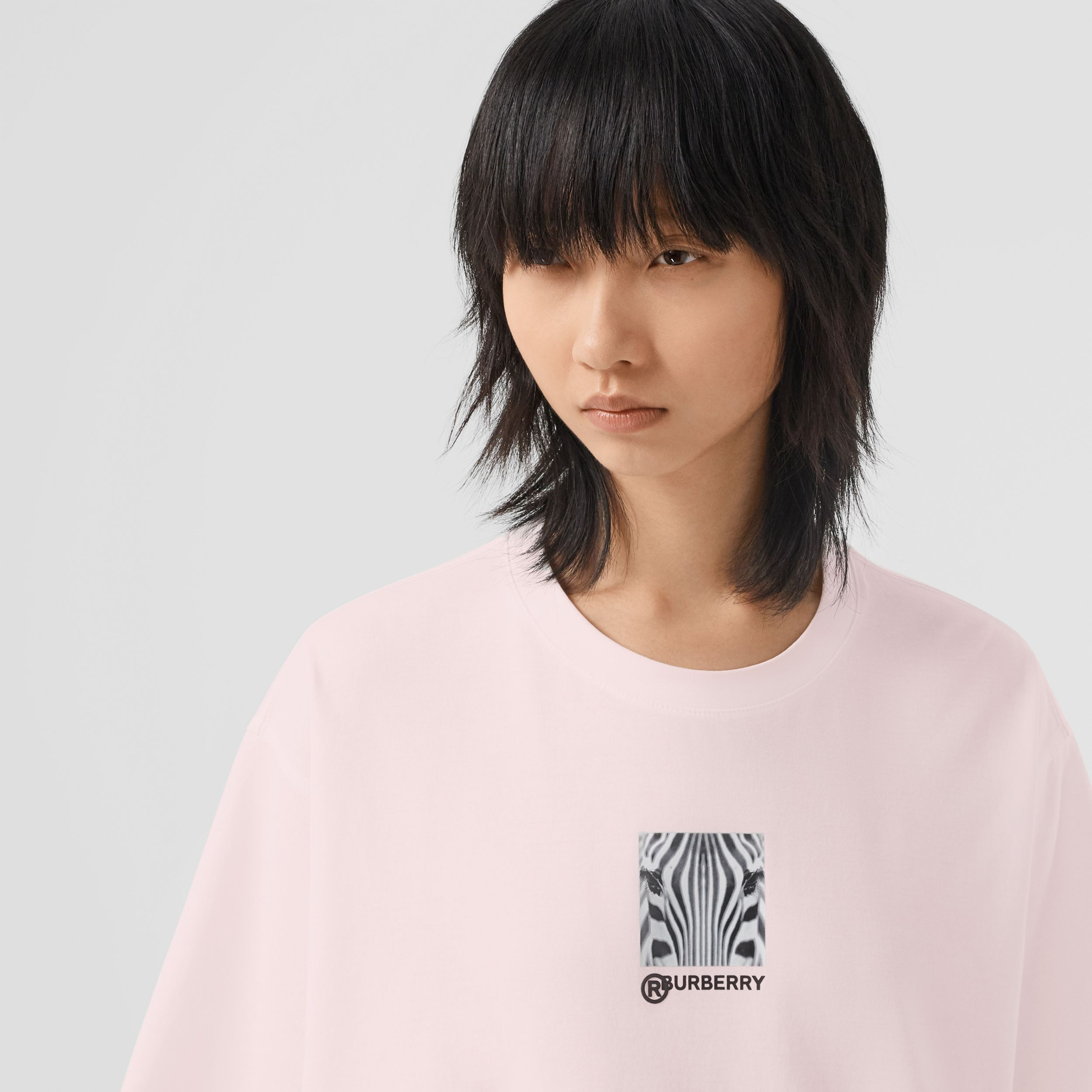 Montage Print Cotton Oversized T-shirt in Alabaster Pink - Women | Burberry - 2