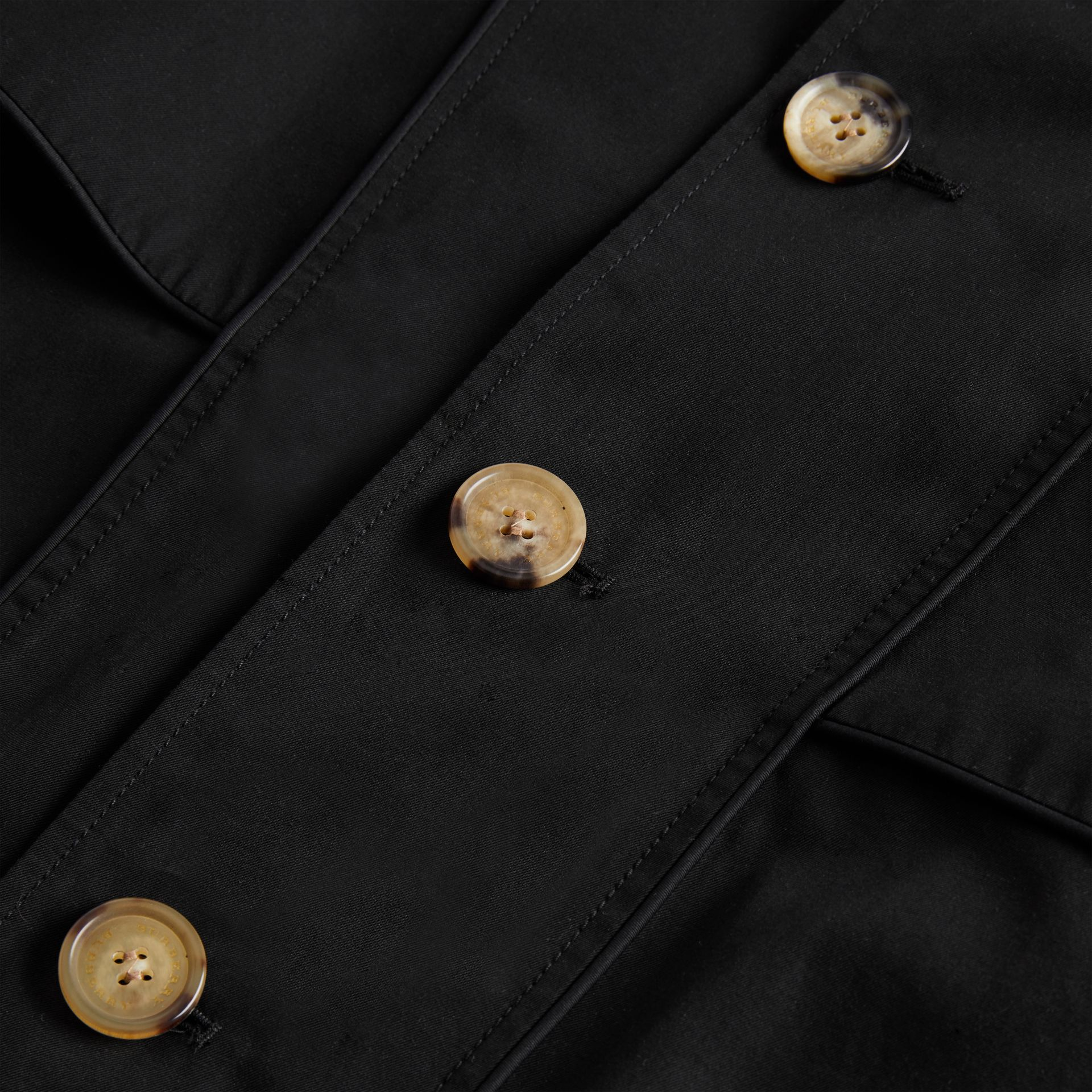 Piping Detail Tropical Gabardine Trench Coat in Black | Burberry United Kingdom - gallery image 4