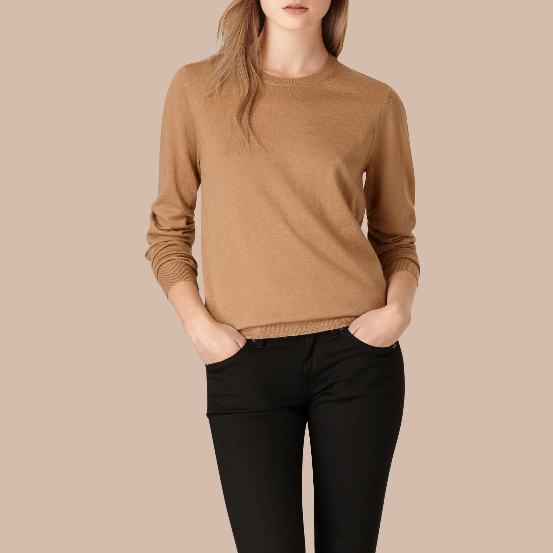 Check Detail Merino Wool Crew Neck Sweater Camel - gallery image 1