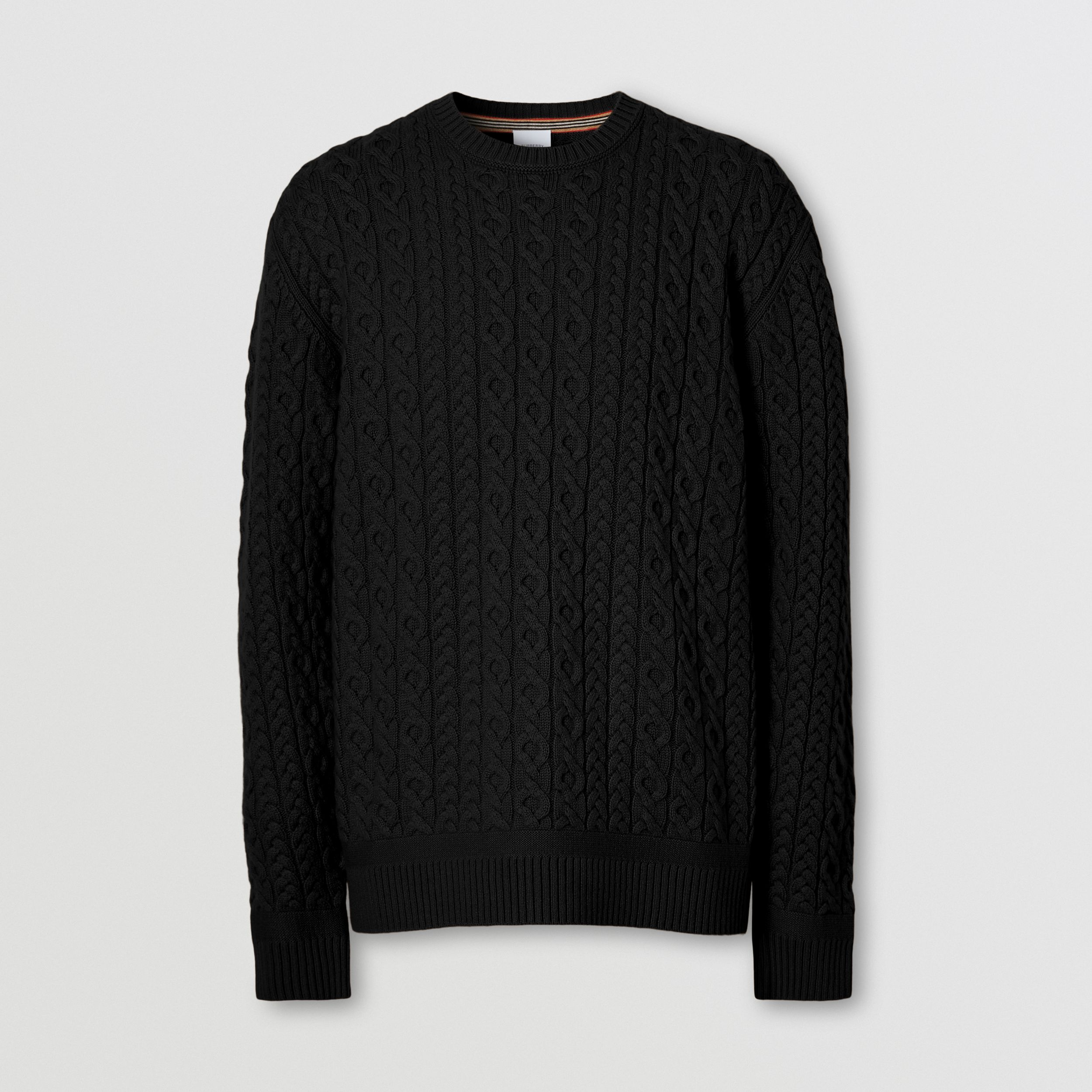 Cable Knit Wool Cashmere Sweater in Black - Men | Burberry - 4