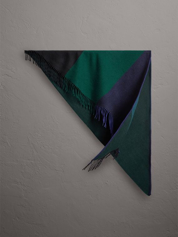 The Burberry Bandana in Striped Cashmere in Forest Green