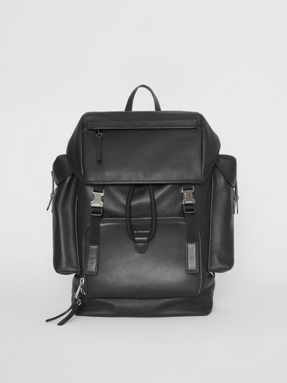 Grainy Leather Backpack in Black