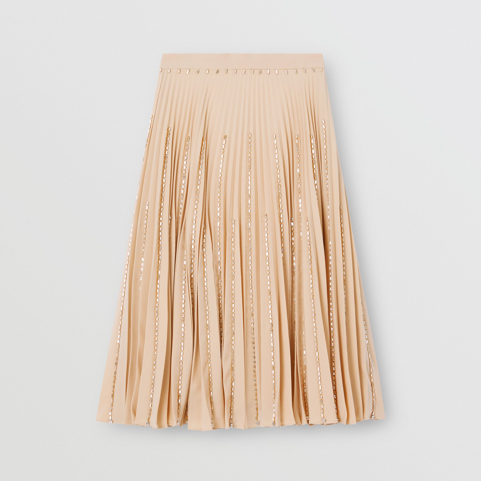 Crystal Detail Plissé Soleil Stretch Cady Skirt in Sesame - Women | Burberry - gallery image 2