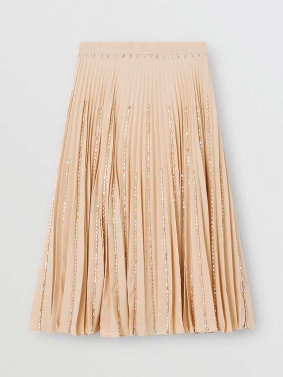 Crystal Detail Plissé Soleil Stretch Cady Skirt in Sesame