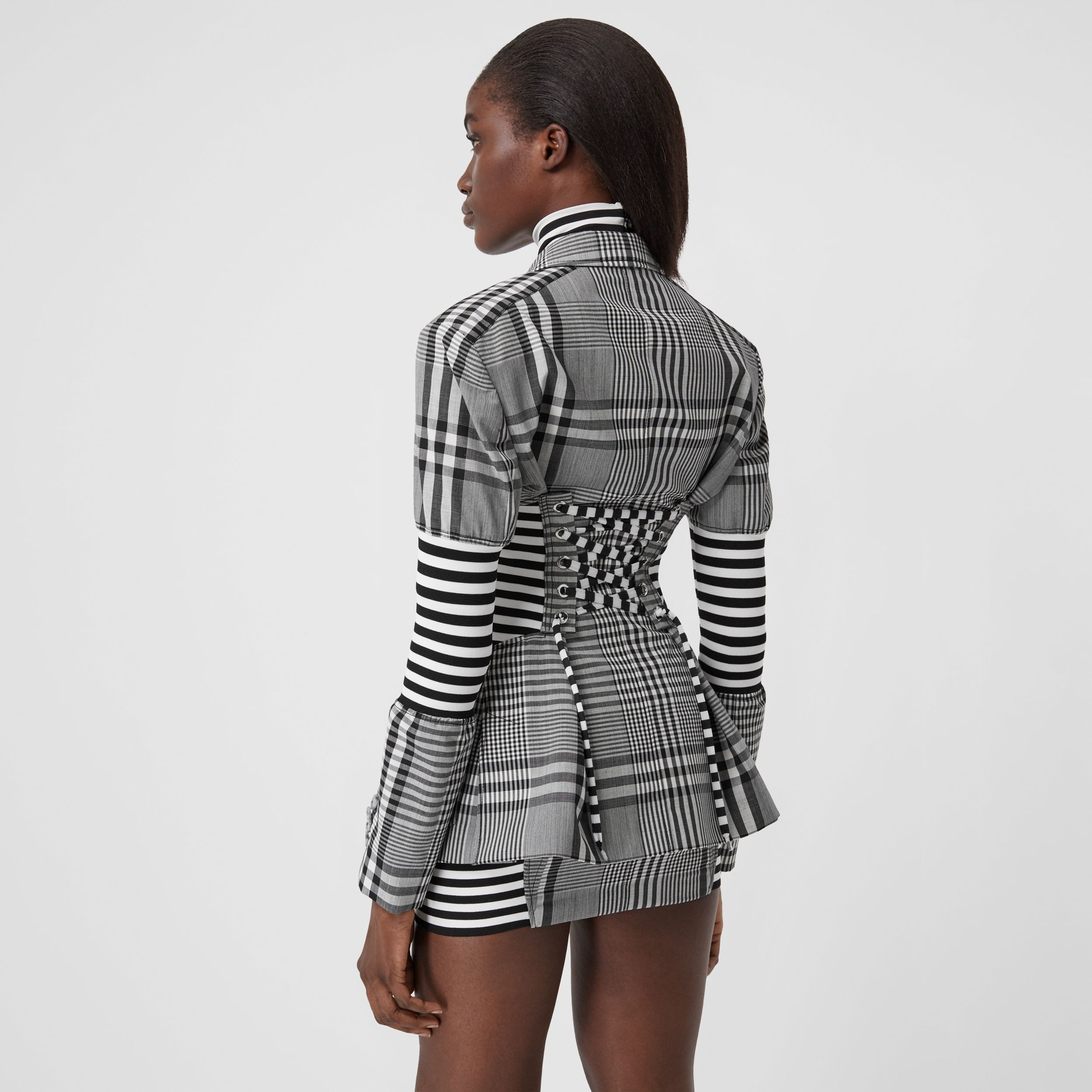 Corset Detail Check Technical Wool Blazer in Black - Women | Burberry - 3