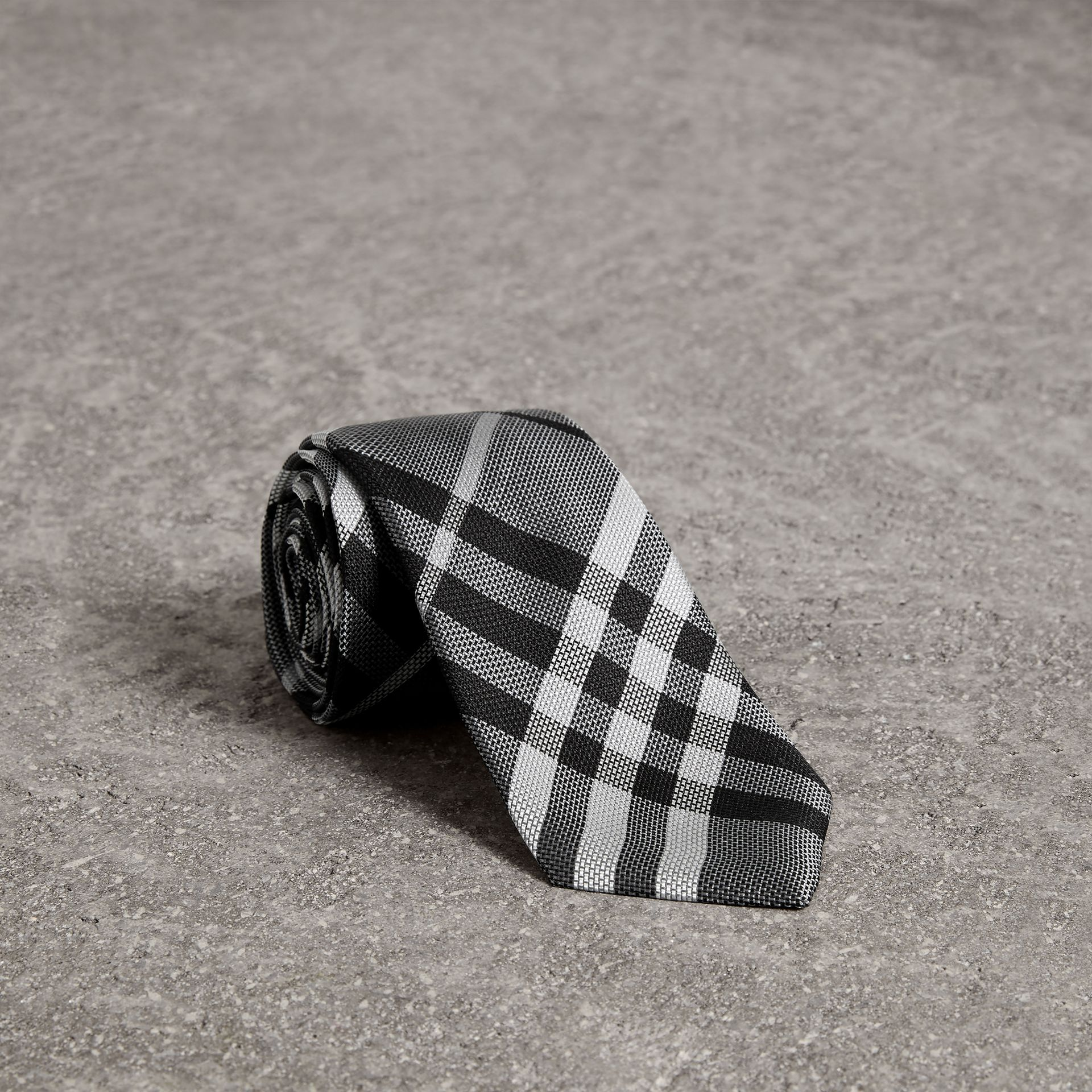 Modern Cut Check Silk Tie in Mineral Grey - Men | Burberry - gallery image 0