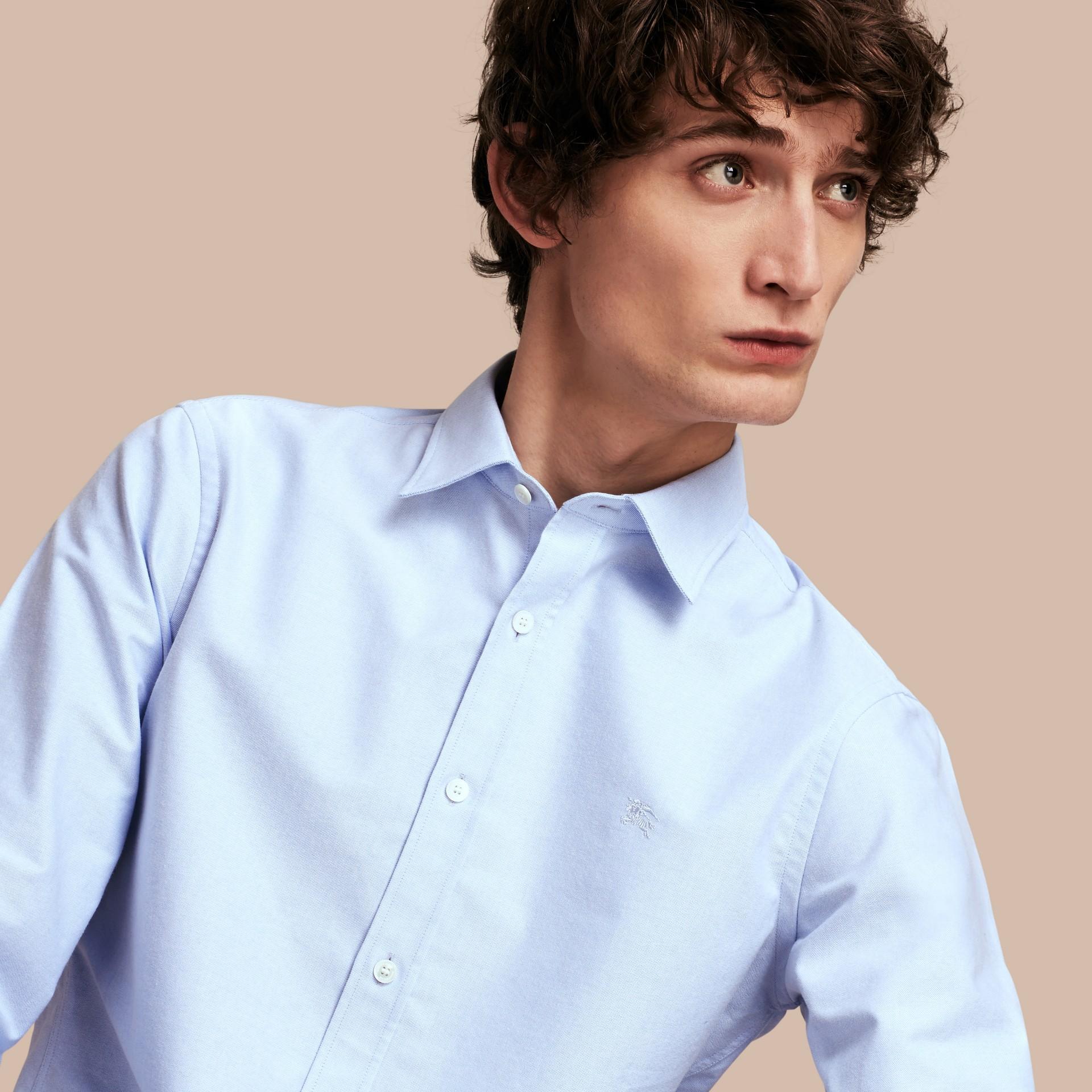 Oxford Cotton Shirt with Regimental Cuff Detail Cornflower Blue - gallery image 5