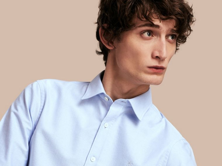 Oxford Cotton Shirt with Regimental Cuff Detail in Cornflower Blue - cell image 4