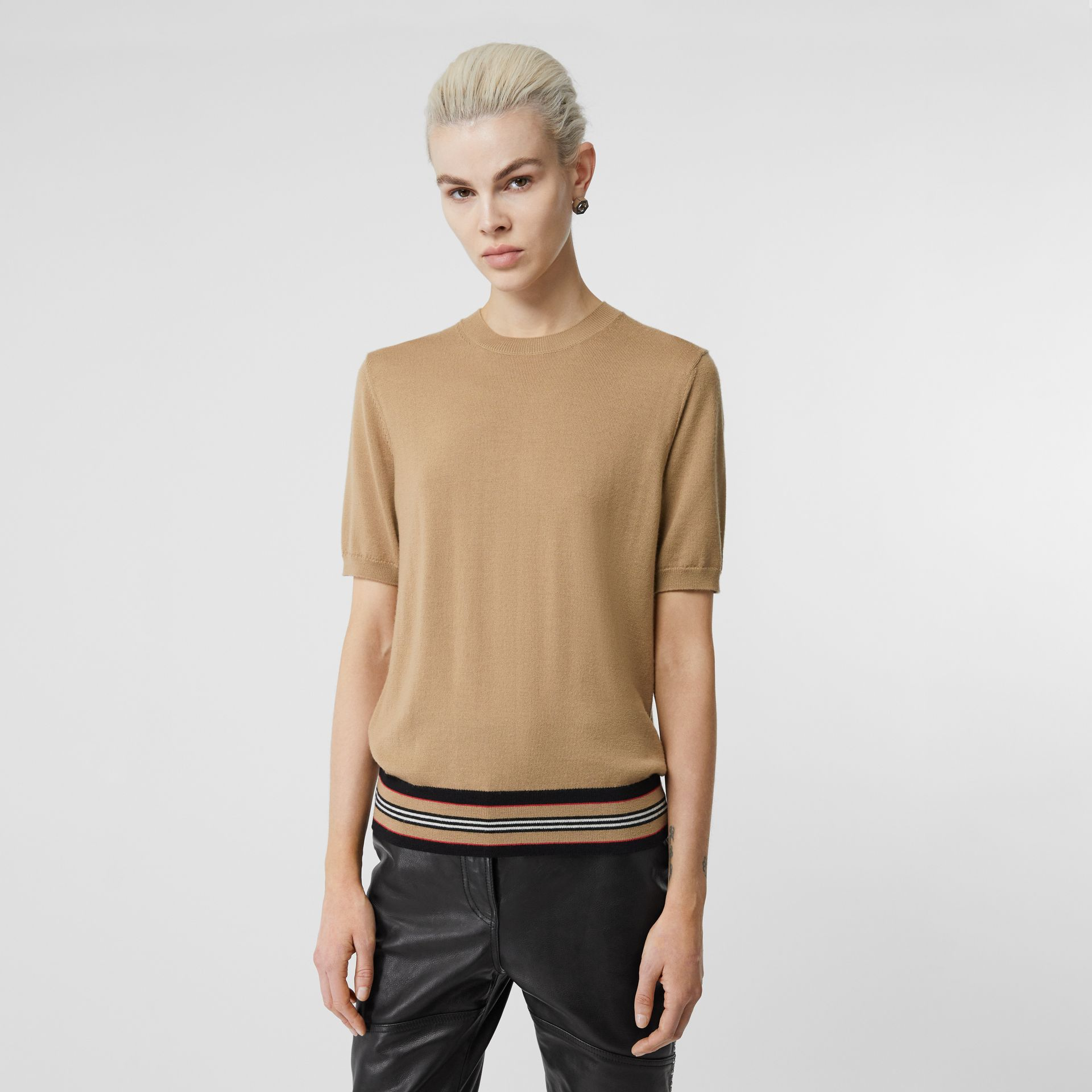 Short-sleeve Icon Stripe Detail Merino Wool Top in Camel - Women | Burberry United Kingdom - gallery image 4