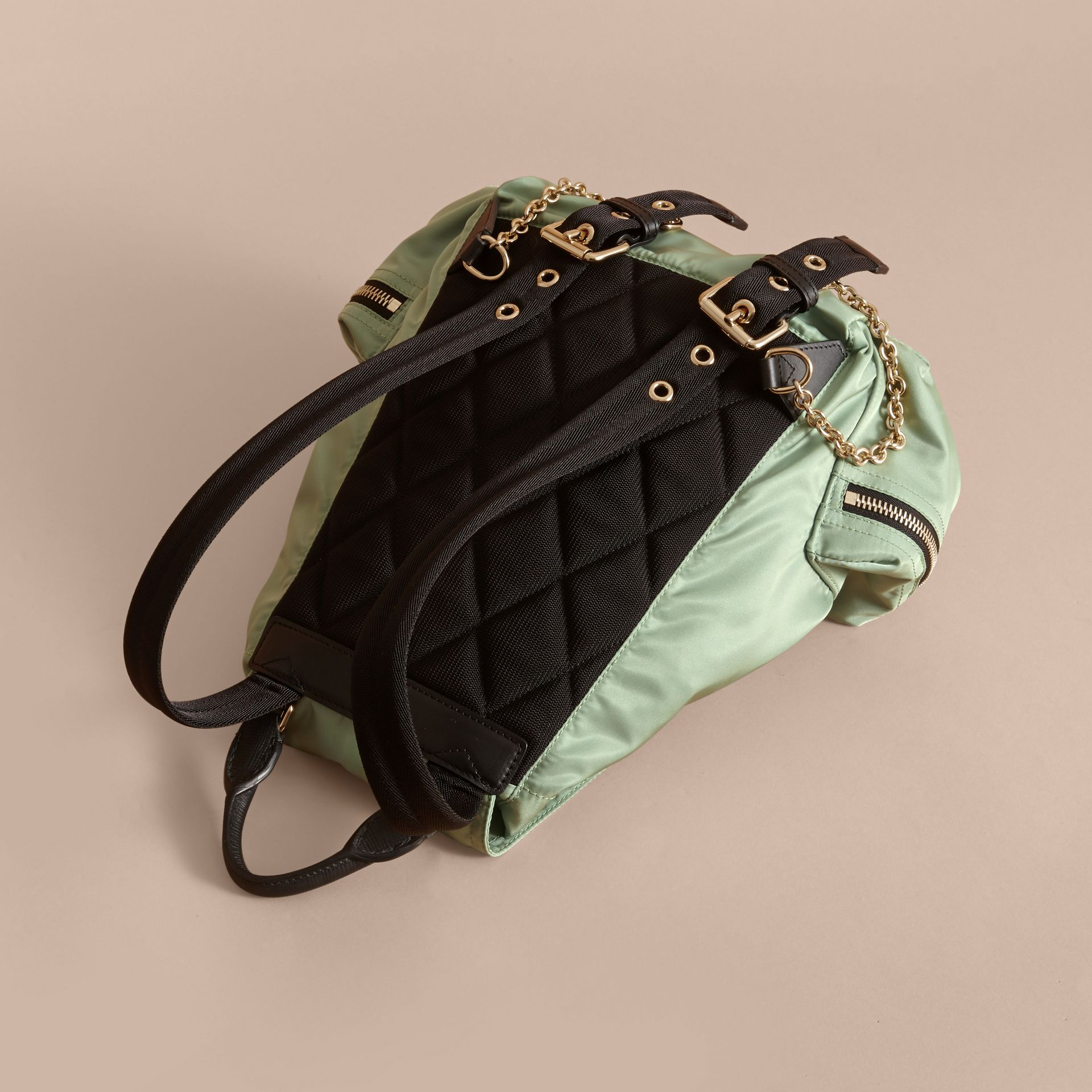 The Medium Rucksack in Technical Nylon and Leather in Apple Green - Women | Burberry - gallery image 4