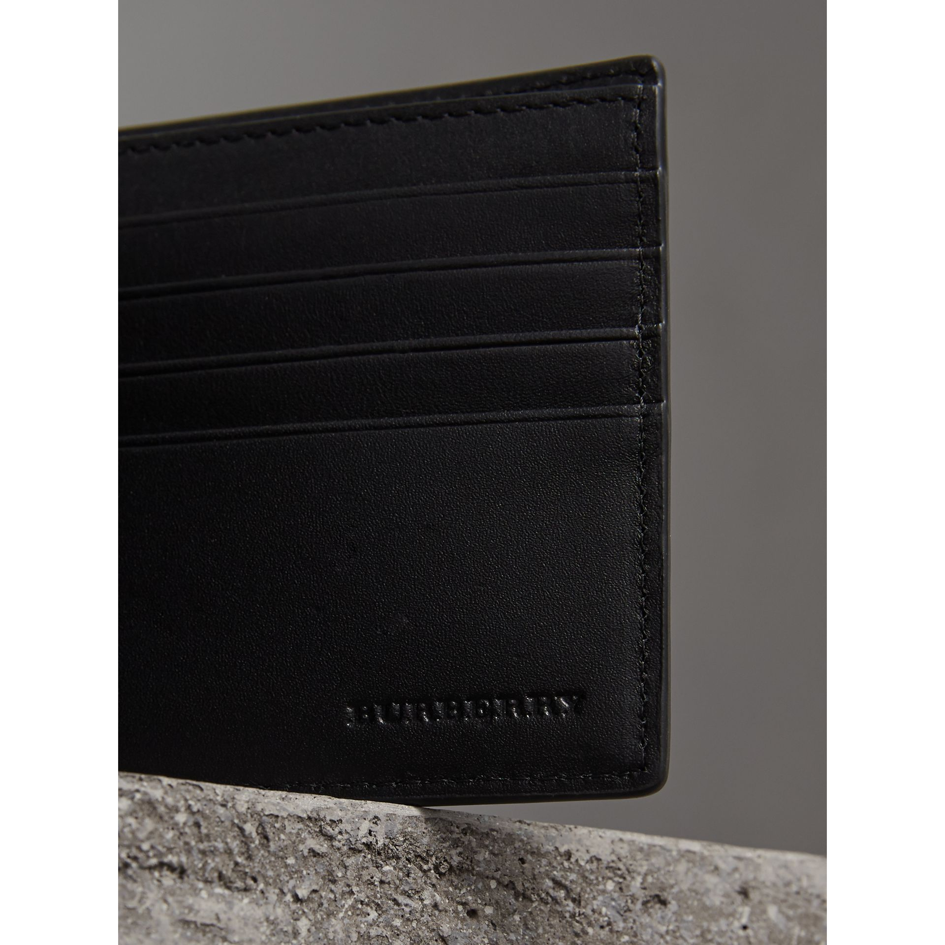 London Check International Bifold ID Coin Wallet in Chocolate/black - Men | Burberry - gallery image 2