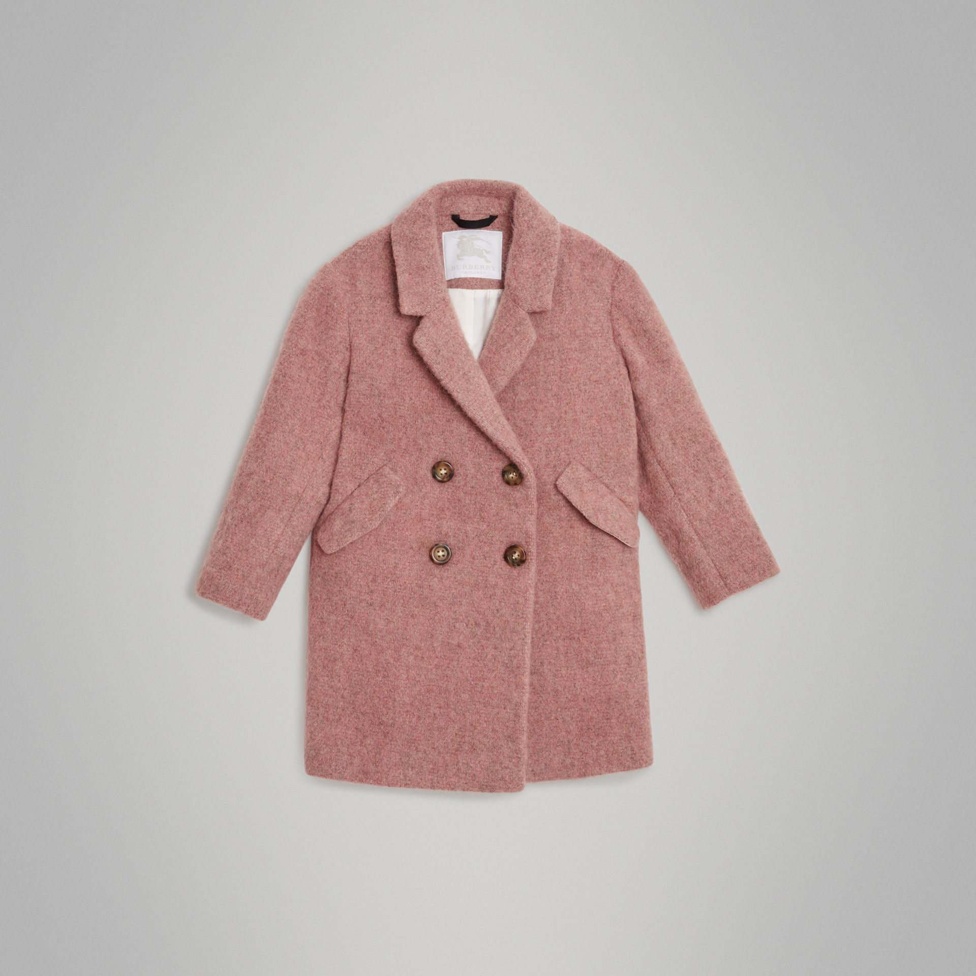 Wool Alpaca Blend Tailored Coat in Rose Pink Melange - Children | Burberry United Kingdom - gallery image 0