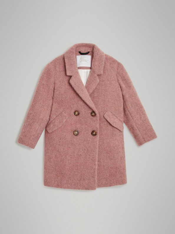 Wool Alpaca Blend Tailored Coat in Rose Pink Melange