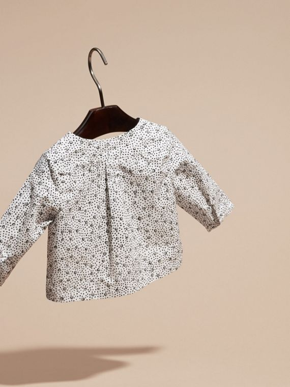 White Painterly Spot Print Cotton Shirt - cell image 3