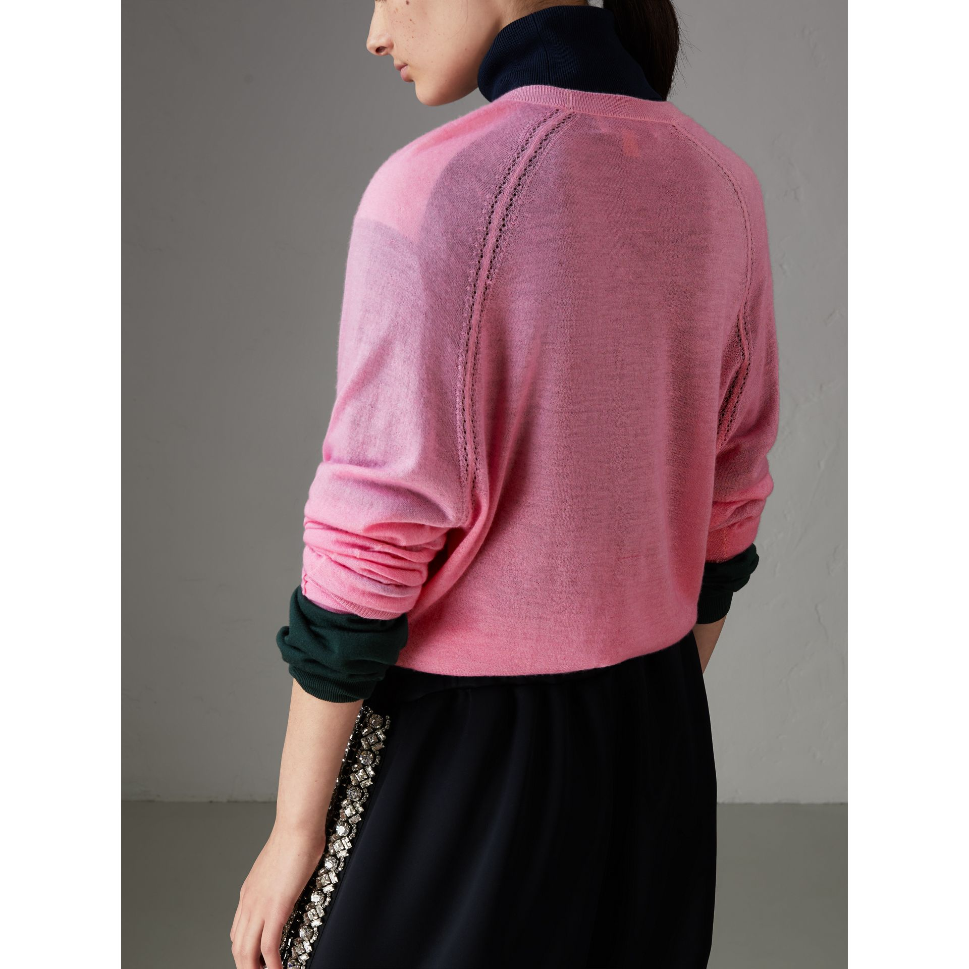 Open-stitch Detail Cashmere Sweater in Dusky Pink - Women | Burberry Singapore - gallery image 2
